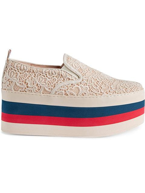 Gucci Women's Peggy On Platform Lace Sneakers In White