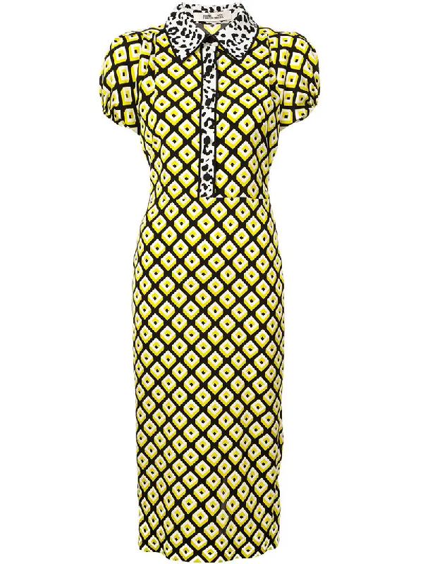 b88da797c73a Diane Von Furstenberg Elly Crepe Midi Dress In Yellow | ModeSens