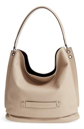 aa0ccb1a5 Longchamp '3D' Leather Hobo - Grey In Clay | ModeSens