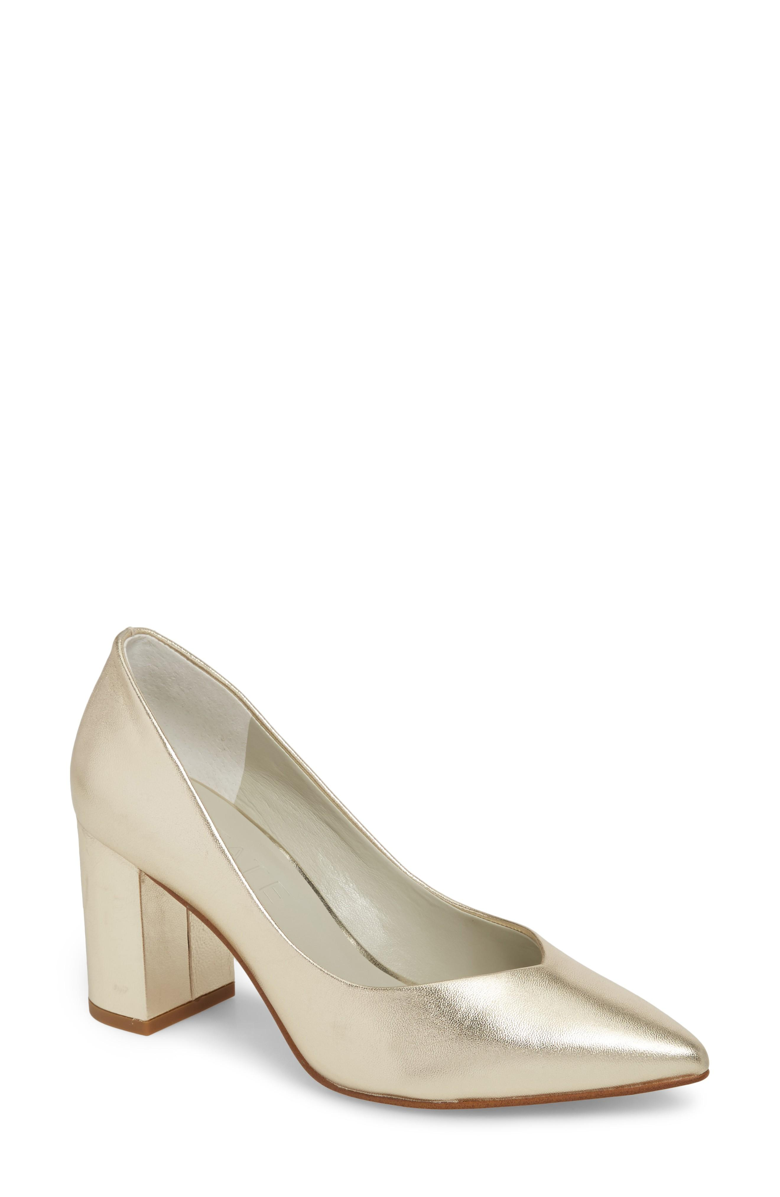 8a0f687fee9 A lightly pointed topline echoes the toe shape of a velvety suede pump  lofted on a blocky half-moon heel. Style Name 1.state Saffy Block Heel Pump  (Women).