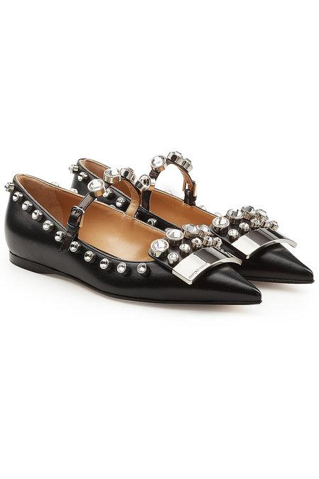 Sergio Rossi Crystal-Embellished Leather Flats In Multi