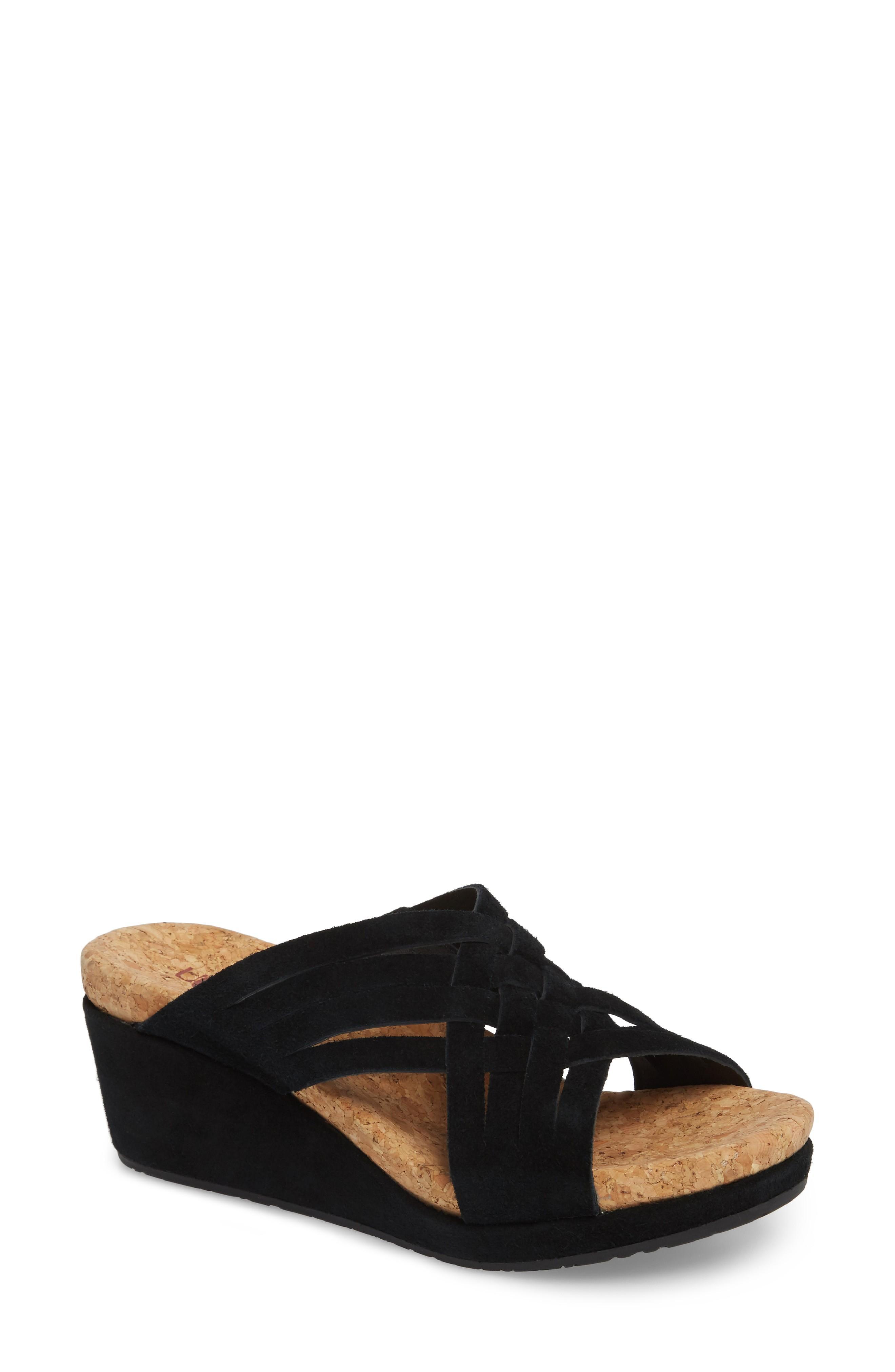 c2cc38f64b Ugg Lilah Wedge Sandal In Black Suede   ModeSens