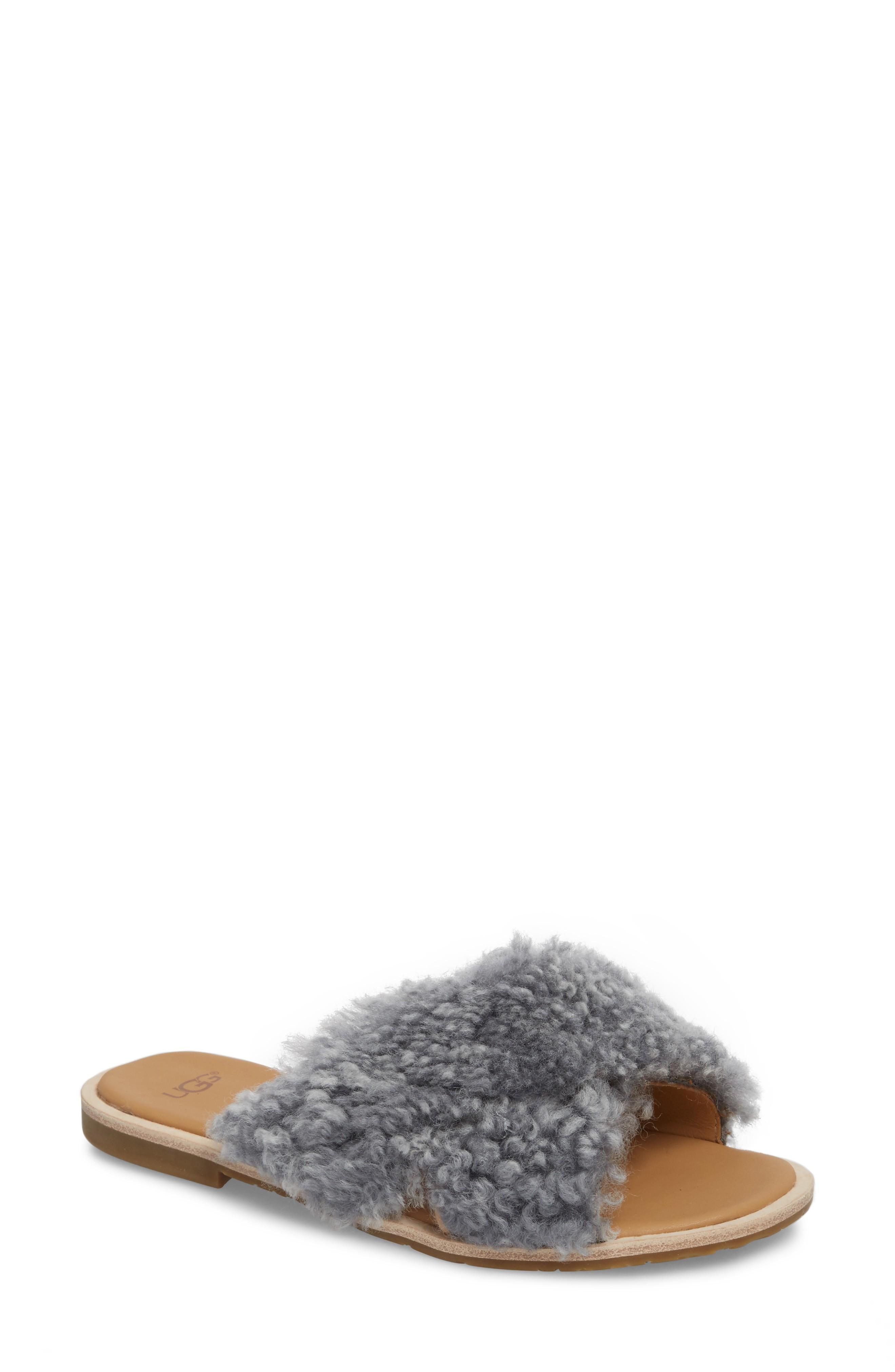 21533e9b3eb Ugg Joni Genuine Shearling Slide Sandal in Lude Grey