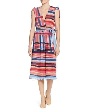 Catherine Catherine Malandrino Wrapped Pleated Bow-shoulder Dress In Multi
