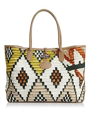 Longchamp southwestern raffia shoulder bag with leather trim. Rolled top  shoulder straps f67ab59ca1021