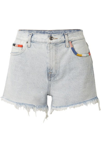 Splendid X Margherita Embroidered Cutoff Denim Shorts In Capri Wash In Light Denim