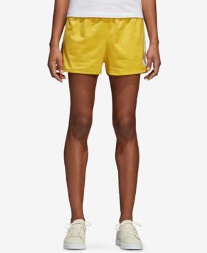 adidas 3 stripes shorts yellow