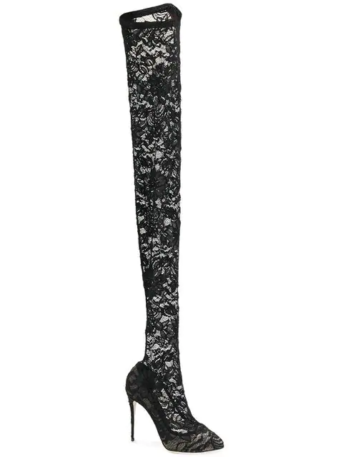 Dolce & Gabbana Coco Thigh-High Boots  In 80999  Black