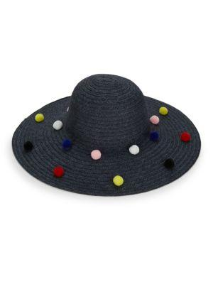 5b19412a43403c Bcbgeneration Funfetti Pom-Pom Sun Hat In Black   ModeSens
