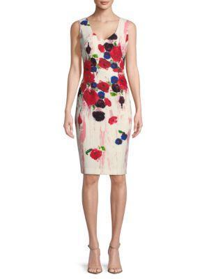 David Meister Floral-print Sheath Dress In Floral Multicolor