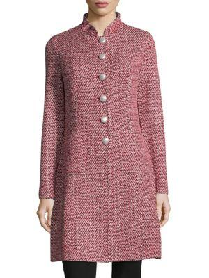 St. John Tweed Knitted Jacket In Red