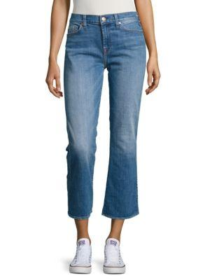 7 For All Mankind Cropped Cotton-Blend Jeans In Adelaide