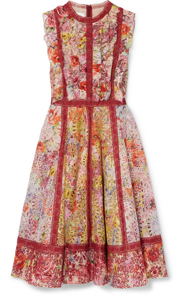 Valentino Floral-print Broderie Anglaise Cotton-blend Mini Dress In Red