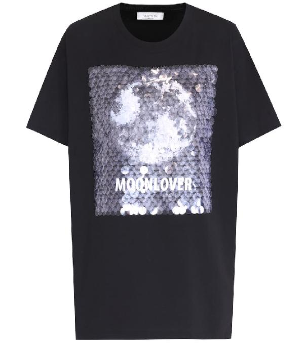 "Valentino ""Moonlover"" Embellished Cotton T-Shirt - Black"