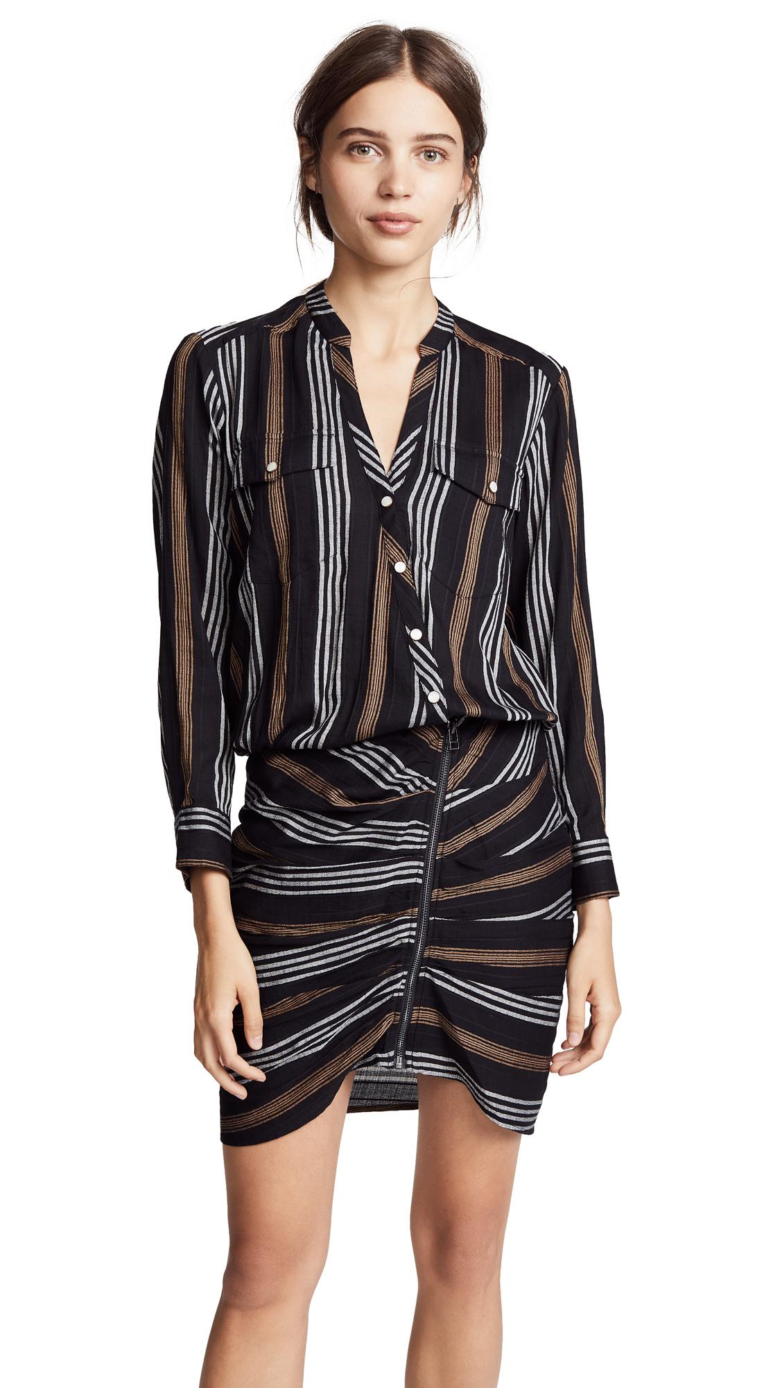 Veronica Beard Emory Dress In Black Stripe Multi