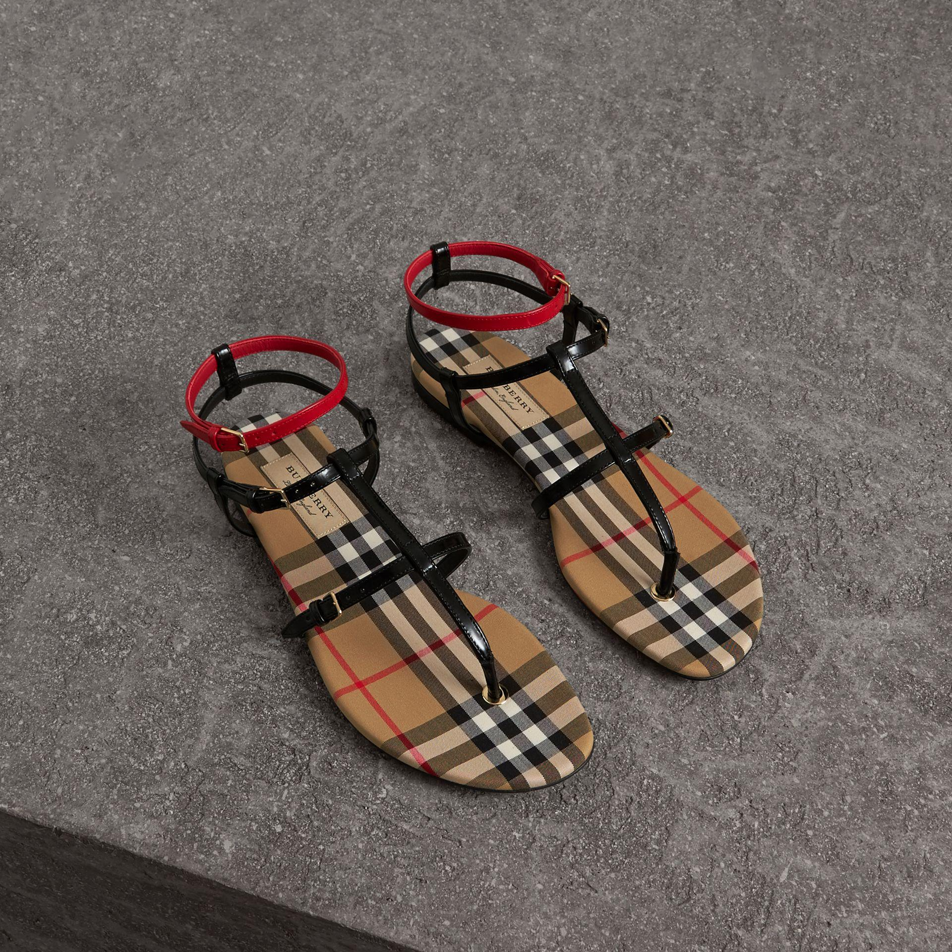ac33e2244cf Burberry Vintage Check And Leather Sandals In Black
