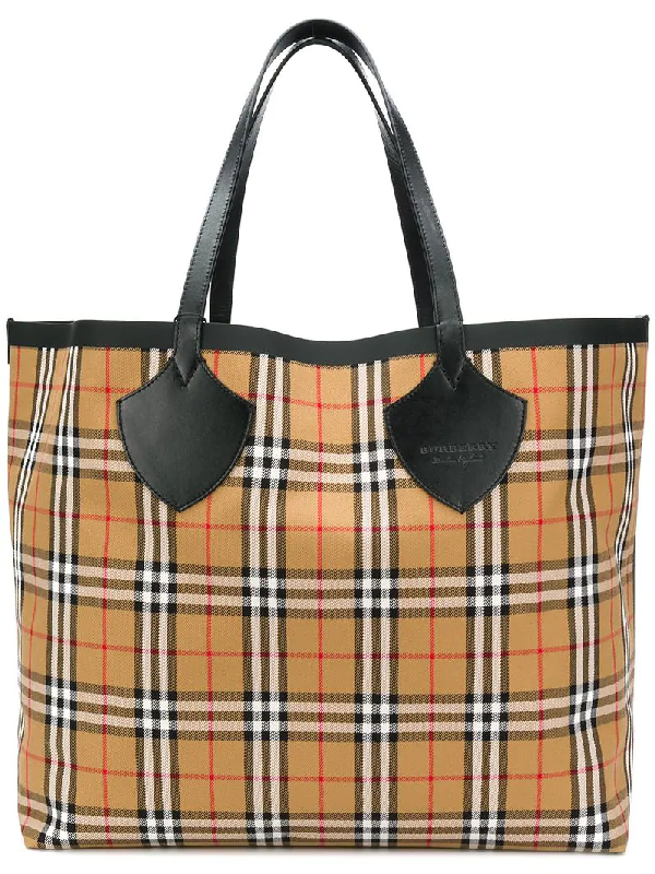 03f8717f4f BURBERRY. Medium Giant Reversible Vintage Check Canvas & Leather Tote ...