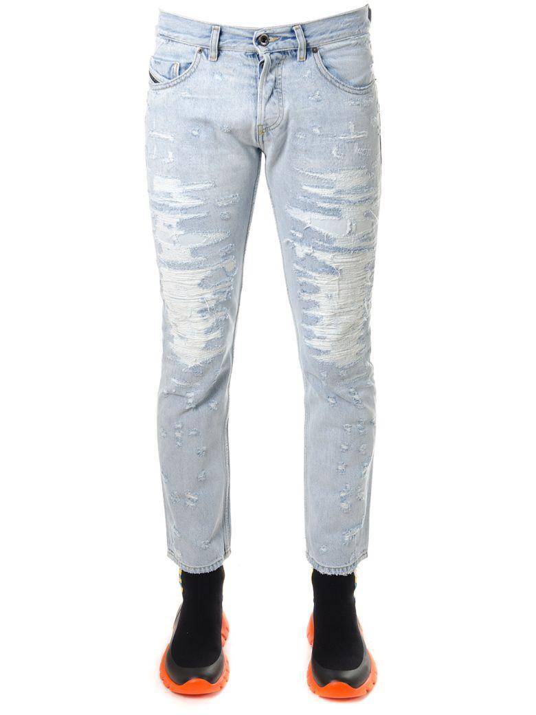 Diesel Black Gold Light Denim Ripped Jeans In Denim Light Blu