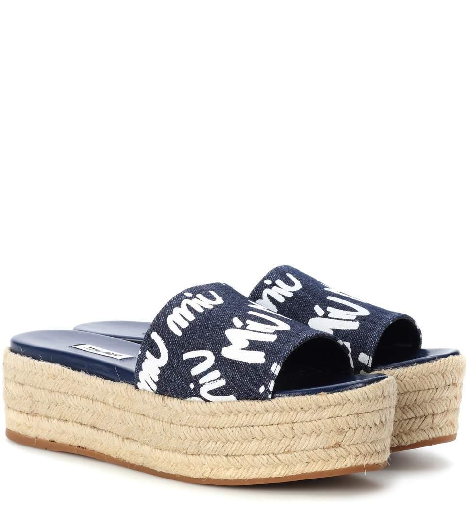 a639556e99fc Miu Miu Denim Platform Espadrille Sandals In Blue