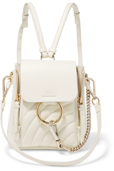 7007a1e6 ChloÉ Faye Mini Quilted Leather Backpack In White | ModeSens