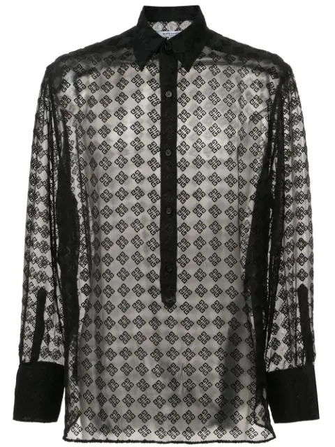 Givenchy Geometric Semisheer Silk-blend Shirt In 001 Black