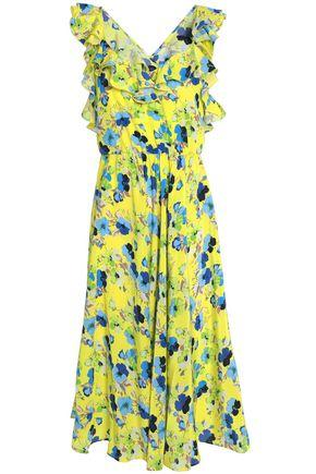 Msgm Woman Pleated Printed Silk Dress Yellow