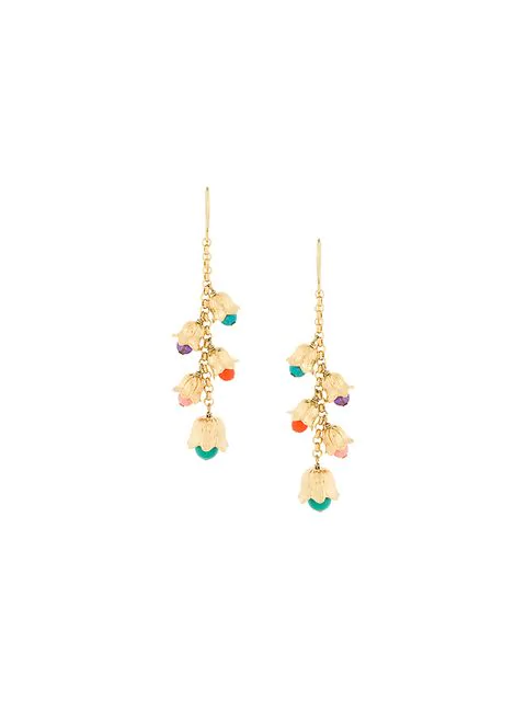 Aurelie Bidermann Beaded Drop Earrings In Gold Multicolor