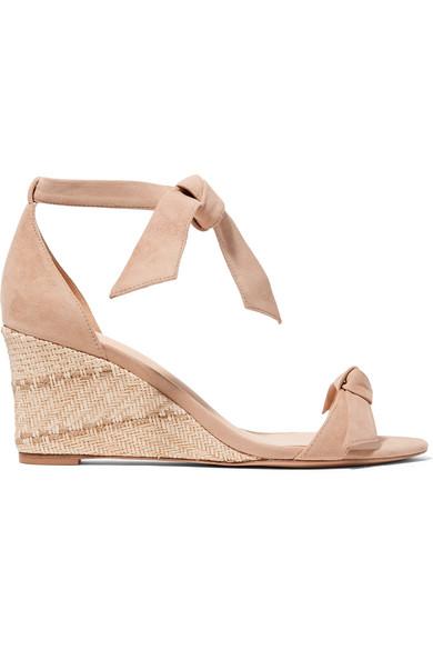 6803c7743e Alexandre Birman Clarita Bow-Embellished Suede Espadrille Wedge Sandals