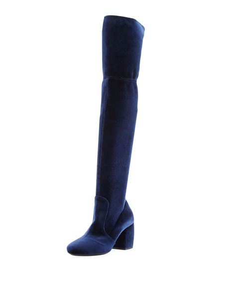 Prada Stretch-Velvet Knee Boot In Navy