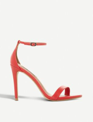 9a0bb009ddf Steve Madden Stecy Sm Faux-Leather Heeled Sandals In Red-Plain Synthetic