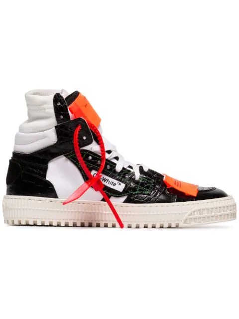 Off-White AppliquÉD Paneled Textured-Leather Sneakers In Black