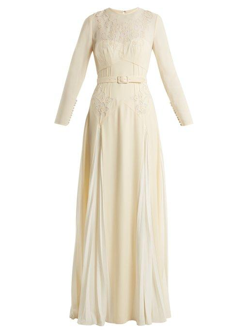 Pleated Skirt Belted Crepe Dress In Ivory