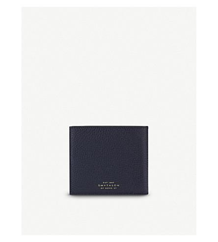 Smythson Burlington Six Card Leather Wallet In Navy