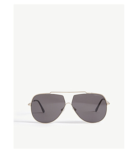 7ab9c0b64f Tom Ford Chase Pilot-Frame Sunglasses In Shiny Rose Gold   Smoke ...