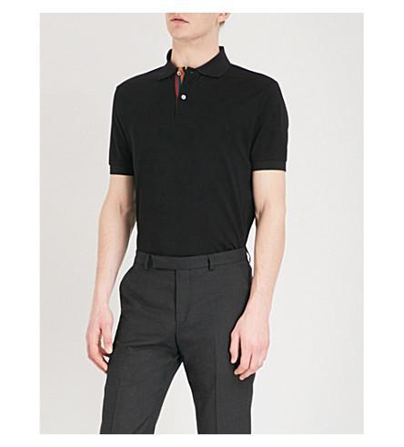 f1655e203d23 Paul Smith Striped Placket Cotton-PiquÉ Polo Shirt In Black | ModeSens