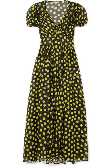 07d4166c1d Shirred Polka-Dot Silk-Georgette Maxi Dress in Black