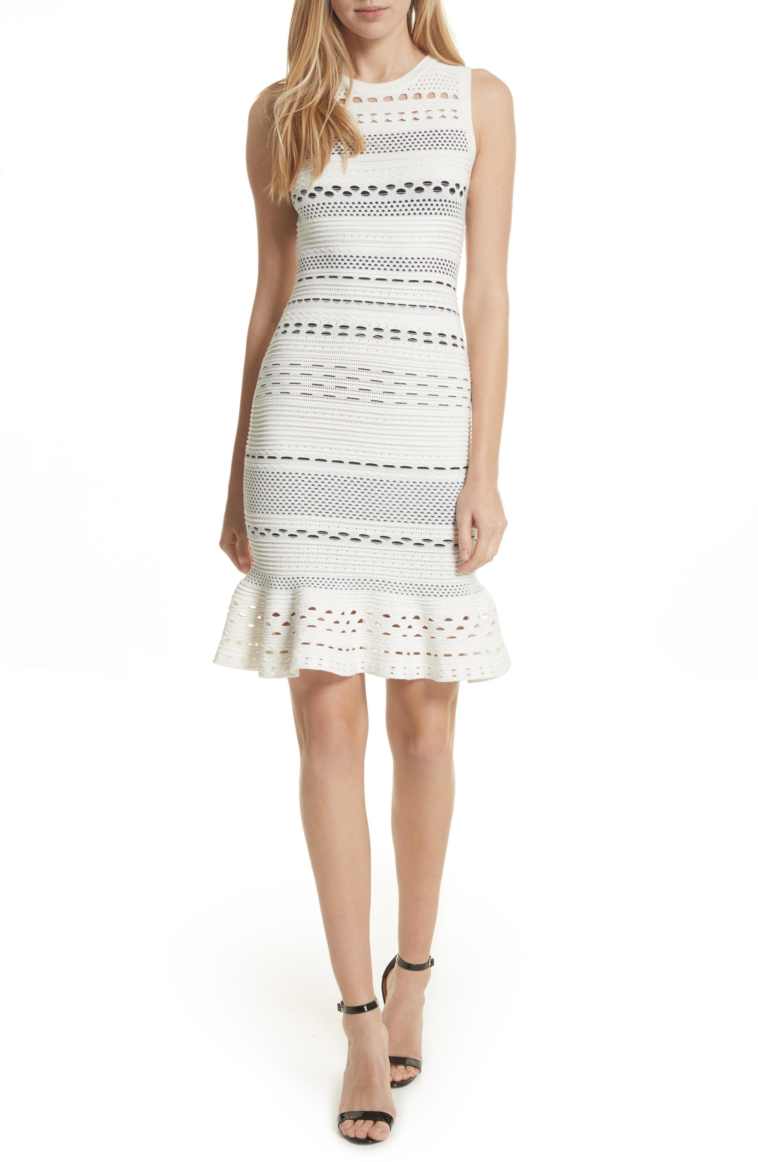 Milly Cutout Lace Knit Dress In White/ Black