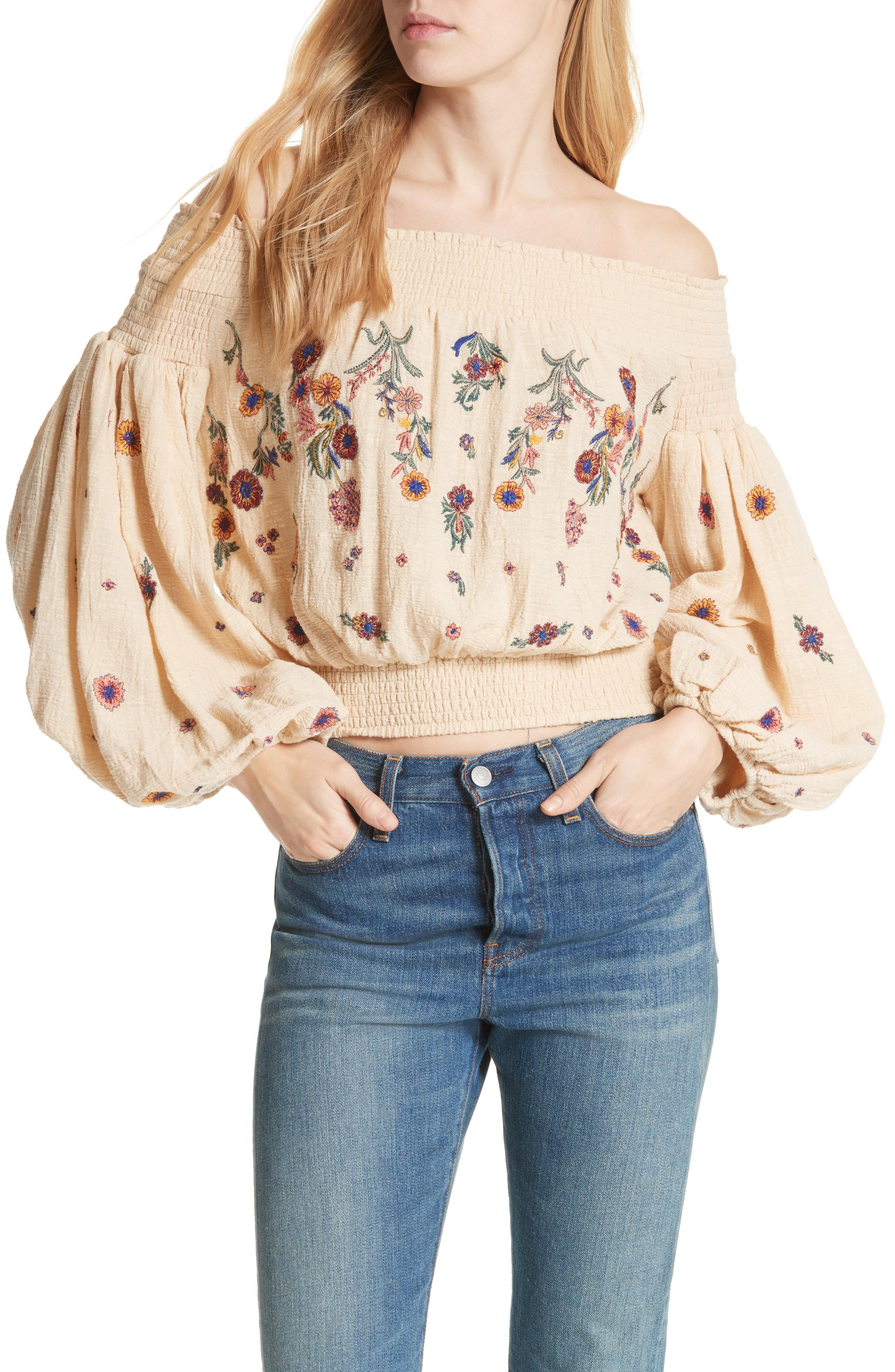 f3f4475db90 Free People Saachi Smocked Off The Shoulder Top In Neutral | ModeSens
