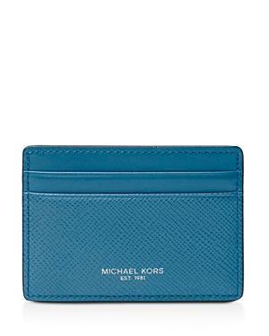 237b31559237 Michael Kors Harrison Cross Grain Leather Card Case In Ocean