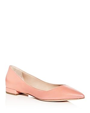 Giorgio Armani Women's Leather Pointed Toe Ballet Flats In Pink