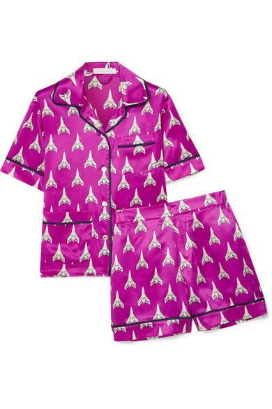 Olivia Von Halle Millicent Printed Silk-Satin Pajama Set In Magenta