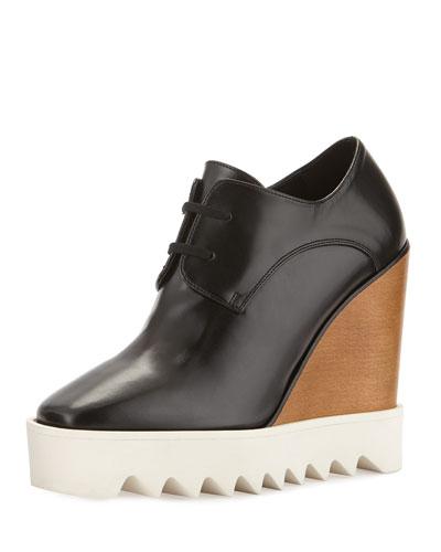 819f89068f Stella Mccartney Wood & Rubber-Platform Faux Leather Wedge Oxfords In Black