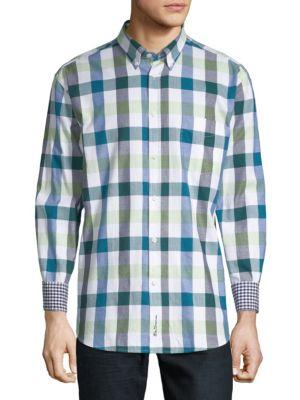 Ben Sherman Buffalo Check Long-Sleeve Cotton Button-Down Shirt In Light Blue
