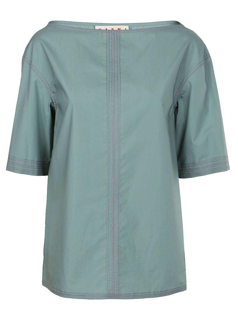 Marni Cotton T-Shirt In Waterfall