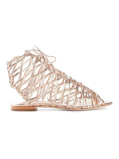 Sophia Webster Dephine Lace-Up Flat Gladiator Sandal, Gold