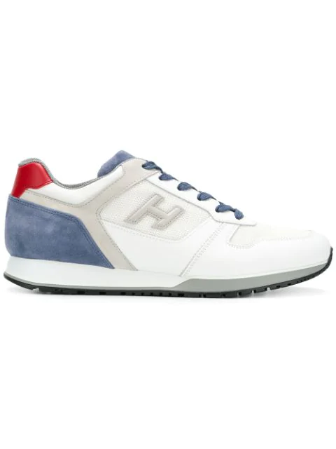 Hogan H321 White, Blue And Grey Leather And Suede Sneaker