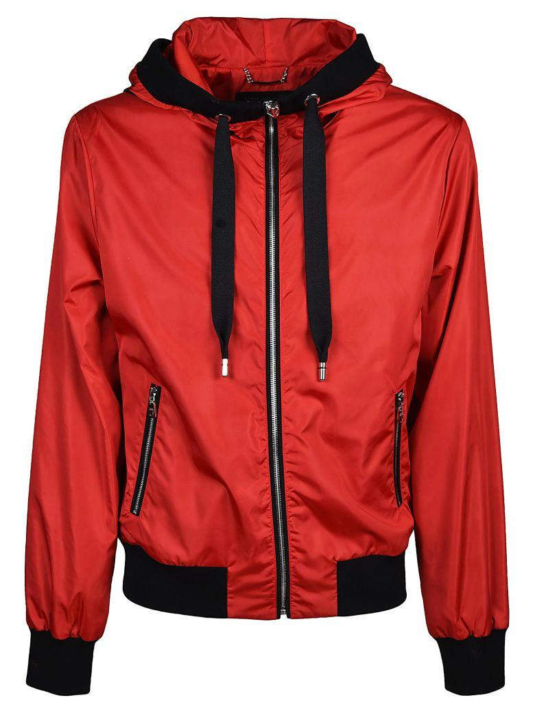 Dolce & Gabbana Zipped Hooded Jacket In Rosso
