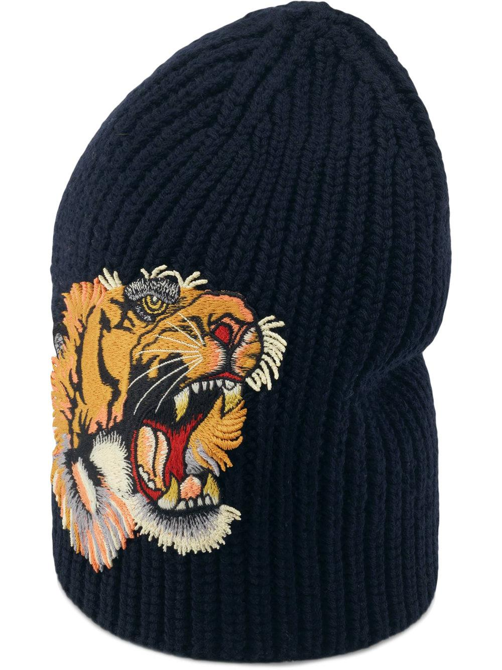 307aae84c12 Gucci Wool Hat With Tiger - Farfetch In Blue