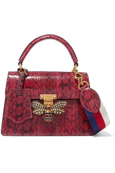 bbc5564c3 Gucci Queen Margaret Embellished Elaphe Shoulder Bag In Red | ModeSens