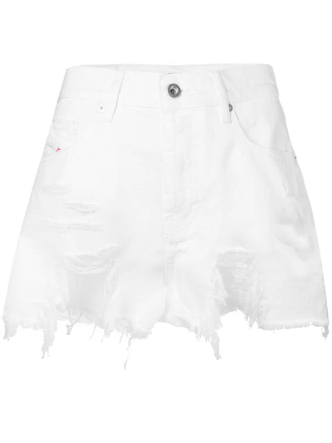 Diesel Distressed Denim Shorts In White